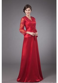 Fascinating V-neck 3/4 Long Sleeve Red Taffeta Mother Dress With waistband