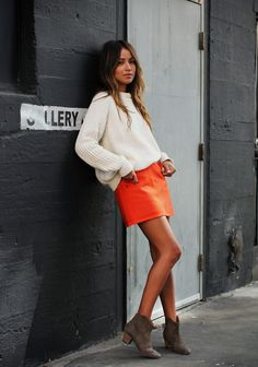 super cute fall outfit. orange skirt, white sweater & booties. sincerely jules.