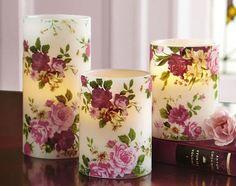 Set Of 3 Rose Pattern Flameless Pillar Candles