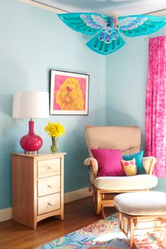 blue i style: {decorating with style} Painting Ombre Wall Stripes in the Nursery