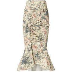 Zimmermann Women's Cavalier Strapped Floral Skirt ($850) ❤ liked on Polyvore featuring skirts, floral, high low skirt, flower print skirt, zimmermann, floral print skirt and short front long back skirt