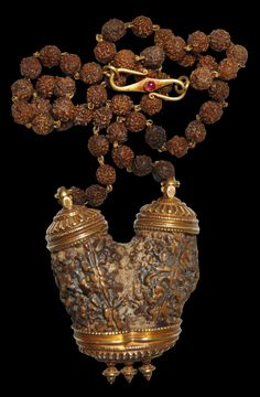 Jewelry | Rare Shiva-Parvati Double Rudraksha Necklace with Ruby-Inset Gold Mounts - The Curator's Eye