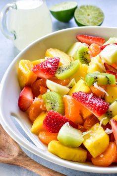 Nothing says summer like Tropical Fruit Salad! Loaded with all your favorite summer fruits, it's bright, flavorful, and fun... and made even more delicious with a sweet coconut lime simple syrup! Dessert Salads, Fruit Salad Recipes, Fruit Snacks, Fruit Salads, Healthy Breakfast Recipes, Easy Healthy Recipes, Skinny Recipes, Best Dessert Recipes, Sweet Desserts