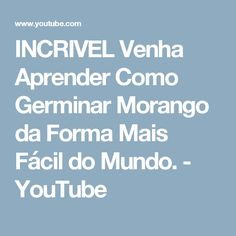 INCRIVEL Venha Aprender Como Germinar Morango da Forma Mais Fácil do Mundo. - YouTube