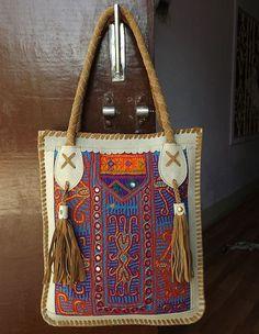 Handmade Patchwork Leather Tote Bag Indian Banjara by LArtisanale