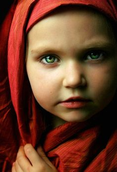 """ Far and Away "" This little girl's eyes are so intensely green..."