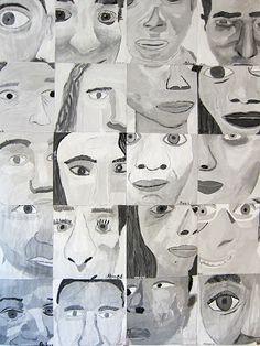 Schutzart: Grade 8 monochromatic cropped self portraits