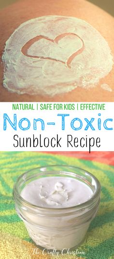 DIY Natural Non-Toxic Sunscreen {Recipe} How toxic is your sunscreen? Many ingredients in conventional sunblock are known to mess with your hormones. I have an easy DIY recipe for making your own natural sunscreen! via Stefani @ Crafty Christian Homemade Sunscreen, Natural Sunscreen, Homemade Skin Care, Homemade Beauty Products, Natural Products, Diy Products, Zinc Sunscreen, Detox, Beauty Recipe