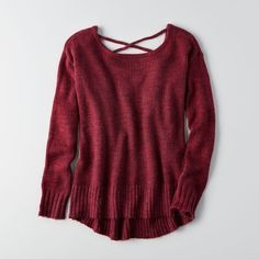 AE Lace-Up Back Sweater ($34) ❤ liked on Polyvore featuring tops, sweaters, red, 3/4 sleeve tops, american eagle outfitters, red sweater, 3/4 sleeve sweaters and scoop neck sweater
