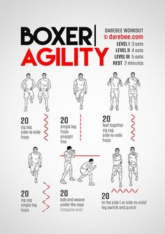 The Boxer agility workout is part of the Darebee Boxing Training themed week. Boxing Training Workout, Boxer Workout, Kickboxing Workout, Gym Workout Tips, Workout Challenge, At Home Workouts, Mma Training, Boxing Workout With Bag, Muay Thai Training Workouts