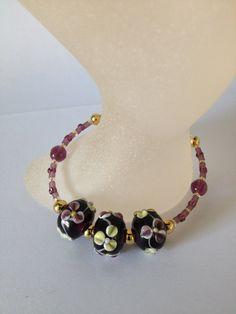 Bracelet Handmade Purple Glass Lampwork by JulieDeeleyJewellery.com £4.99