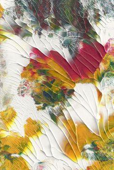 Original Acrylic Abstract January Sun Painting Fine Art in White Mat - Texture Art, 30.00