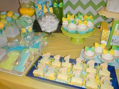 bowtie first birthday party dessert details-bowtie cupcakes, one rice krispy treats, one cookies and candy Boys 1st Birthday Party Ideas, Birthday Party Desserts, First Birthday Parties, Rice Krispie Treats, Rice Krispies, 1st Birthdays, Cupcakes, Candy, Cookies