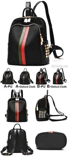 Black Frosted Oxford Cloth Rivet Bag PU Unique Green Red Vertical Stripes School Backpack for big sale! #green #bag #rivet #oxford #school #backpack #college #bag #fashion #student #book #rucksack #travel#black #cute