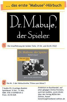 """... ein """"Bild"""" der Zeit, die beiden Mabuse-Filme! Movie, Reading"""