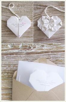 Origami heart-shaped wedding invitations