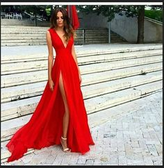 Sexy Red Prom Dresses,Chiffon Prom Dresses,Simple Prom Dress,Long