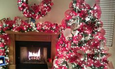 """Christmas 2012: """"Frosty Flakes"""" - Tree, Wreath, & Mantle."""