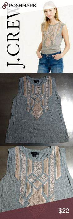 J. Crew Lace appliqué tank top J. Crew Lace appliqué tank top   A refreshing, and slightly dressier take on the classic cotton shell with added lace appliqués, so you're sure to get more mileage out of this wear-almost-anywhere top.  Size Small Excellent Pre-Loved Condition ❤️ J. Crew Tops Tank Tops