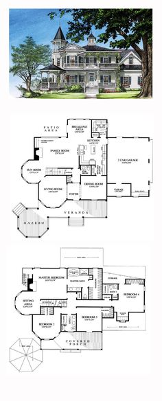 Convert Bedroom 2 and Living room into a 2-story library and add two story conservatory to the back