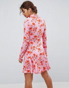 ASOS Turtleneck Mini Dress With Godets In Floral Print - Multi