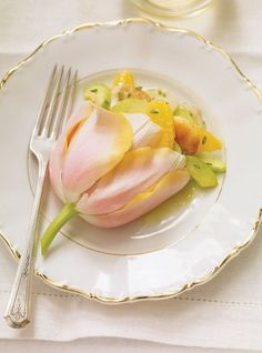 Gorgeous presentation... Scallop and Orange Salad in a Tulip (recipe).  Amazing for a bridal shower, tea or luncheon!