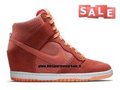 aa481536f66 Nike Wmns Dunk Sky Hi Essential - Chaussure Montante Nike Pas Cher Pour  Femme Fille Rouge lave brillant Crépuscule brillant Blanc 644877-602