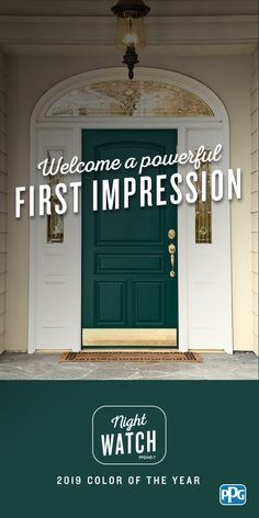 The nature-inspired, Night Watch is the PPG 2019 Color of the Year. Hand-selected by PPG's global color experts and stylists, this rich, luxurious, and classic shade of green will be at the forefront of design trends in Night Watch is a Home Trends, Home, Front Door Paint Colors, Color, Front Door, Paint Colors, House Painting, Trending Paint Colors, House Colors