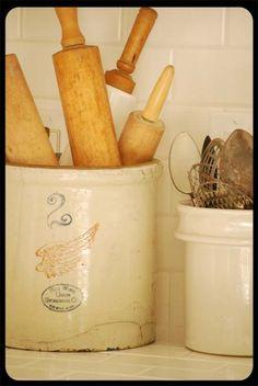 Crock of Rolling Pins -- I love old crocks...