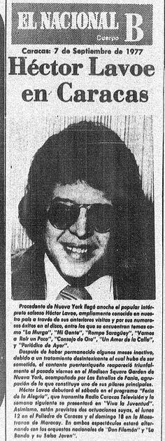 Héctor Lavoe en Caracas. Publicado el 7 de septiembre de 1977.