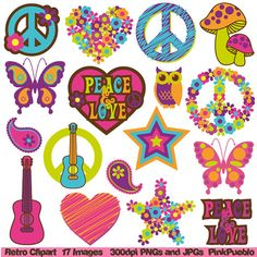 Retro Tree Clipart Clip Art, Vintage Trees Clip Art Clipart Vectors - Commercial and Personal Use Art Clipart, Vintage Clipart, Clip Art Vintage, Retro Vintage, Flower Clipart, Combi Hippie, Paz Hippie, Mundo Hippie, Estilo Hippie
