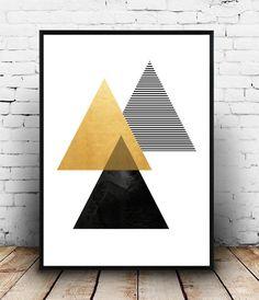 Imprimir Print arte geométrico, imprimible pared arte, diamante imprimir, descarga instantánea, pared, lámina abstracta, geométrica de oro