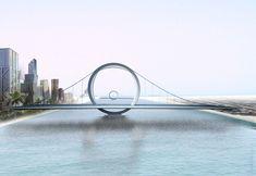 Under construction. Double suspension bridge 9 road bridges Lusail, Qatar 2007. Suspension bridges: 250m Road bridges: 100 m and 400 m. Client: Qatari Diar Real Estate Investment Company Architect: DISSING+WEITLING architecture Engineer: COWI