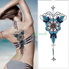Waterproof Temporary Tattoo sticker mandala totem large body art henna chest breast tatto stickers flash tatoo fake tattoos 7
