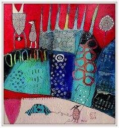 """Running away from Home"" Elke Trittel acrylics on paper 25x25cm"