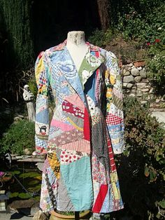 patchwork coat: have a spot in your place where you can store clothing to re/refashion/upcycle.