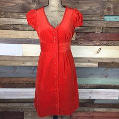 "Maeve Burnt Orange Corduroy Button Front Dress Maeve Burnt Orange Corduroy Button Front Dress   Bust:19"" flat Length: 38"" Waist: 16"" flat  #woodsnap #anthroplogie #maeve #buttonup #retro #burntorange #capsleeve Anthropologie Dresses"