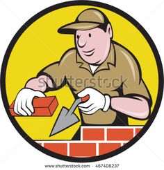 9f4866634 Illustration of a bricklayer mason plasterer construction worker at work  holding brick and trowel set inside circle done in cartoon style.