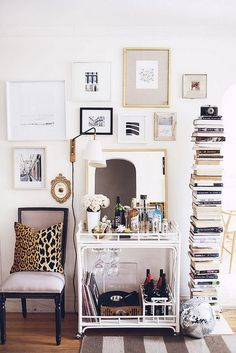 bar cart styling + books + art wall