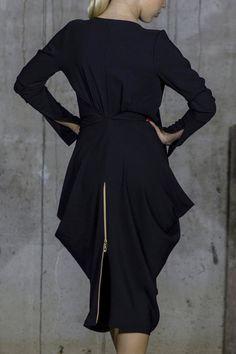 Amphora Black Evening Dress   Full Slit Sleeve   Zip Dress   Back Zip Dress   Scoop Neck Dress by Silvia Monetti