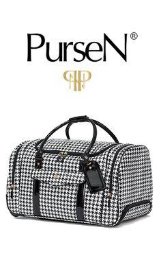 PurseN Travel VIP Duffle Bag-Houndstooth/Black Patent