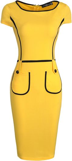 jeansian Women's Slim Formal Pocket Evening Gowns Bodycon Pencil Dresses Yellow M African Fashion Dresses, African Dress, Vestidos Vintage, Vintage Dresses, Mode Outfits, Fashion Outfits, Womens Fashion, Classy Dress, Classy Outfits