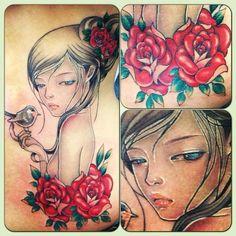 my audrey kawasaki inspired tattoo by ally riley @ dangerzone tattoo, melbourne, australia