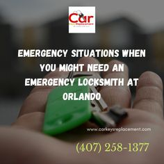 In today's hectic schedule everyone usually rush towards their work in a hurry. Then this arises many unexpected situations and puts us in trouble. Locked out is one of those scenarios. It happens with many of the people in the world annually. Here you will get to know the types of situations when you might need an emergency locksmith at Orlando.