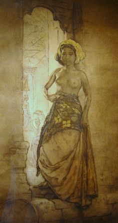 Hofker, Willem Gerard - Balinese beauty at temple entrance Bali Painting, Painting People, Figure Painting, 3d Foto, Indonesian Art, Indian Art Paintings, Dutch Painters, Classical Art, Fantastic Art