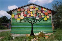Tree urban art mural by Maya Hayuk