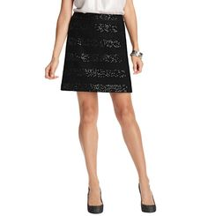 Loft - LOFT Winter - Striped Sequin Boiled Wool Blend Shift Skirt