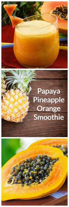 Papaya, Pineapple, and Orange smoothie recipe: whip up this great fruit smoothie with tropical fruit and citrus for a nice immune system boost or a tasty snack.