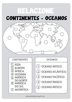 Continentes y océanos Social Studies Worksheets, Social Studies Activities, Teaching Social Studies, Learning Activities, Geography For Kids, Teaching Geography, Middle School Management, American History Lessons, Les Continents