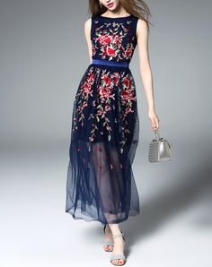 Check the details and price of this Blue Floral Embroidered Mesh Maxi Dress (Blue, ZERACO) and buy it online. VIPme.com offers high-quality Day Dresses at affordable price.